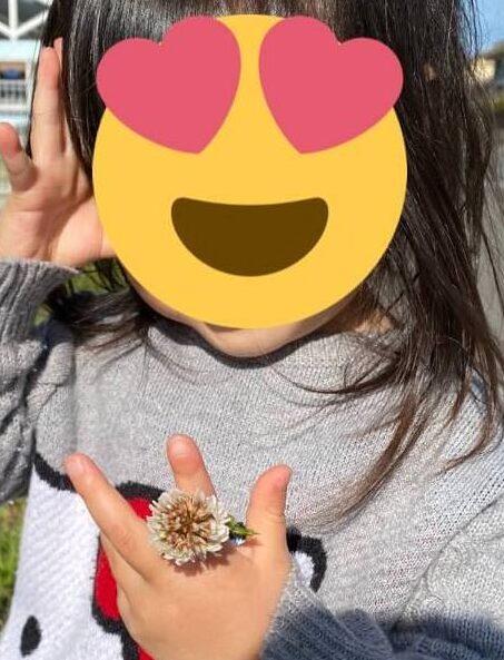 シロツメクサの指輪をつけた子の写真