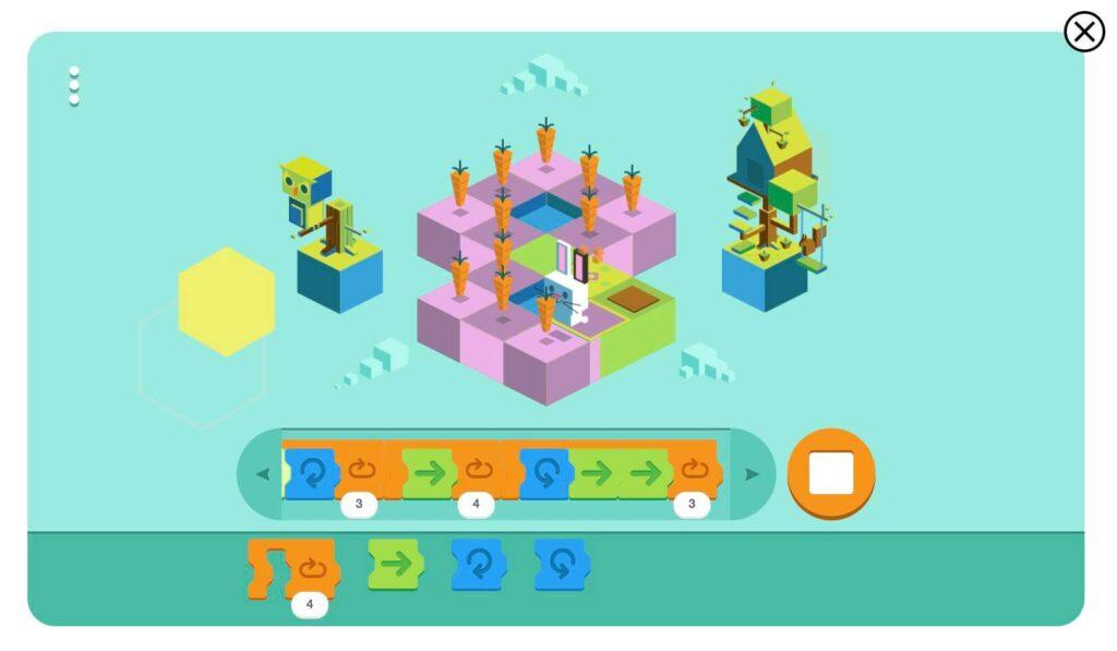 Google子供向けコーディングプレイ画面