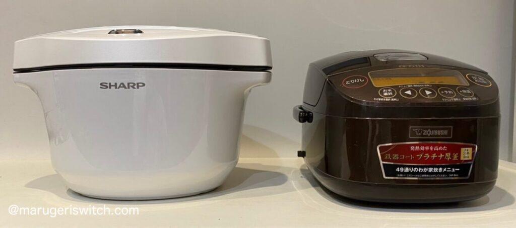 ヘルシオホットクックと炊飯器の大きさ比較写真2