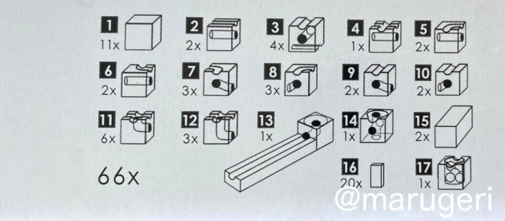 ユリイカデラックス66の積み木の種類の図