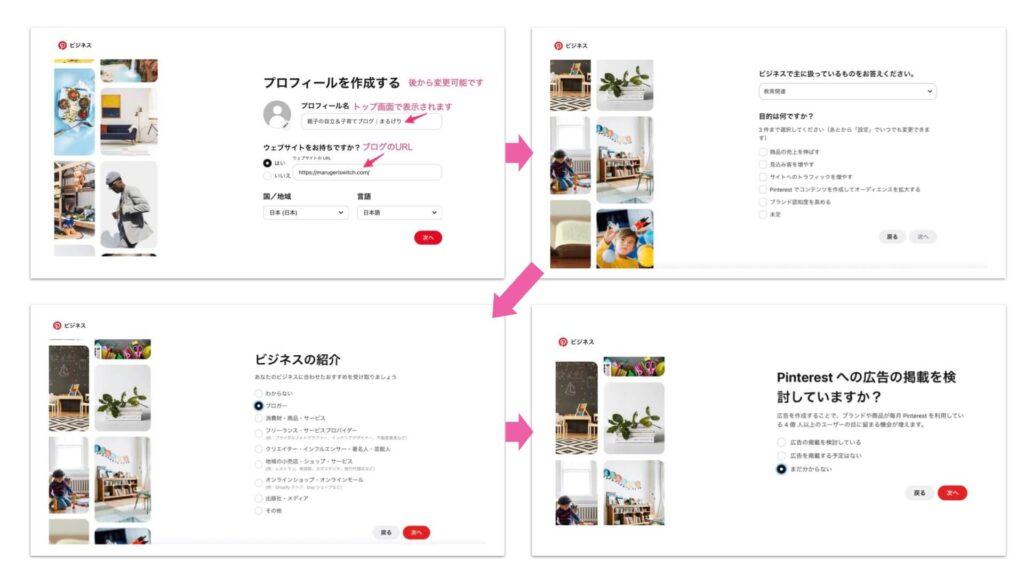 ピンタレストのプロフィール作成〜広告の掲載までの写真